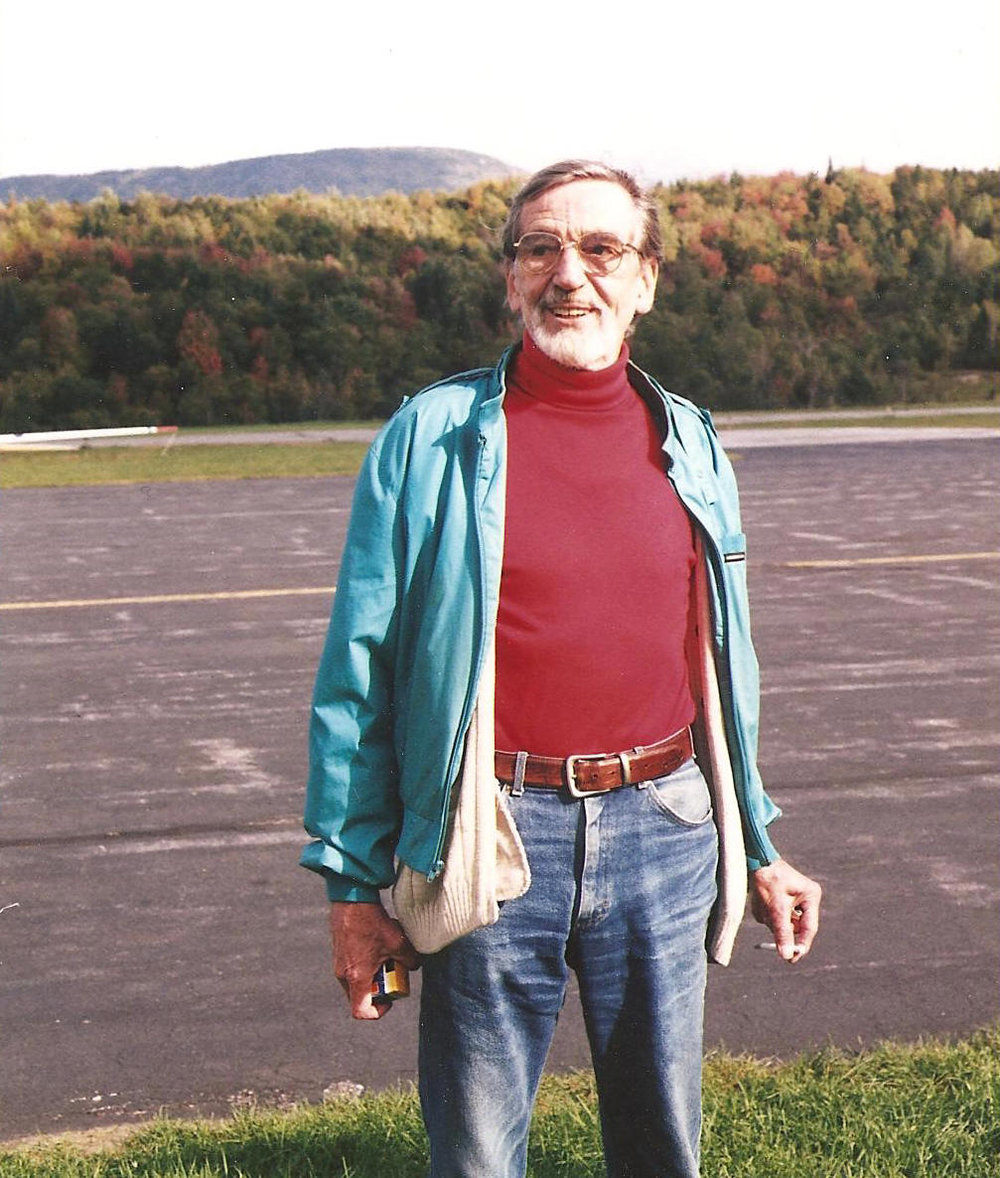 Getting ready for a glider ride to celebrate his 80th birthday, 1996