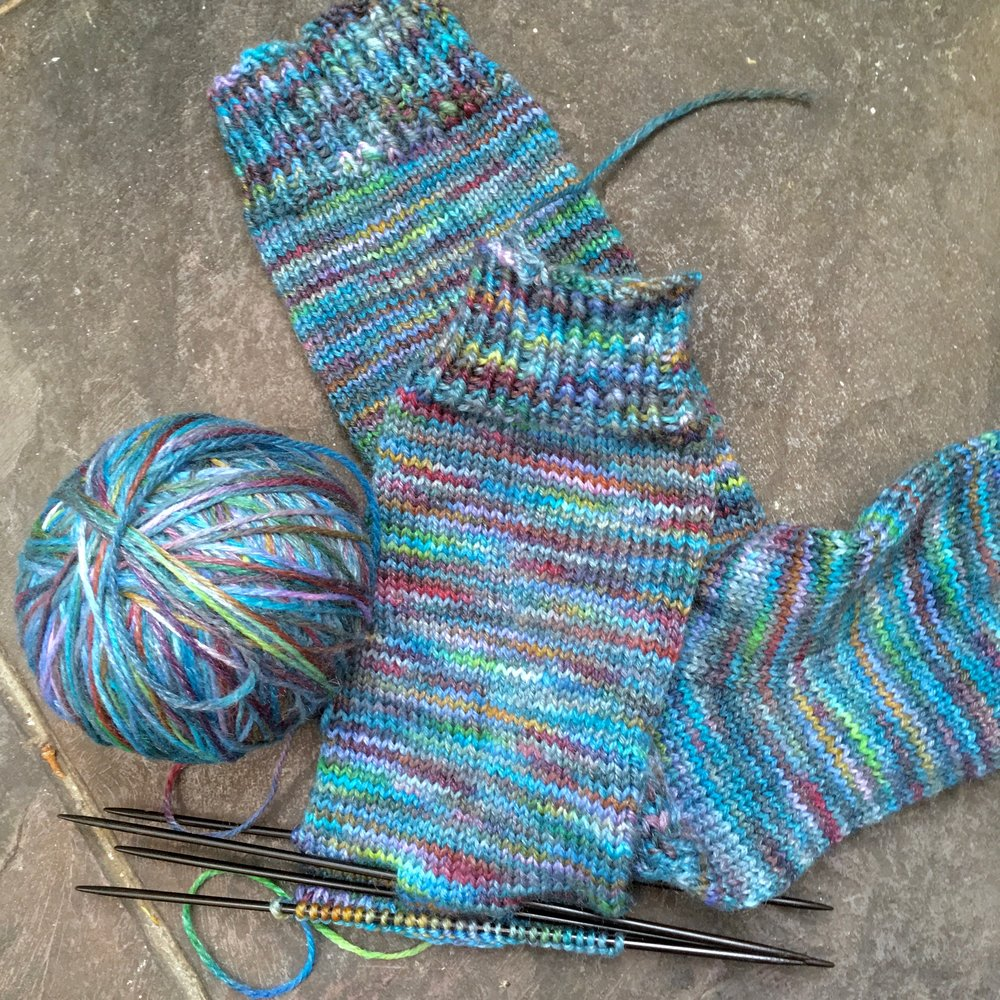 The joy of socks… Based on the   Yankee Knitter Classic Socks   pattern, in   LadyDyeYarns superwash fingering weight yarn