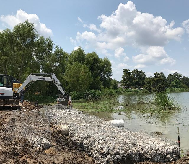 We've got gabion baskets going down this week for a simple shoreline stabilization project on a lake edge.  Looking forward to the rest of the back yard project once our erosion issues are solved.  #elslastudio #landscapearchitecture