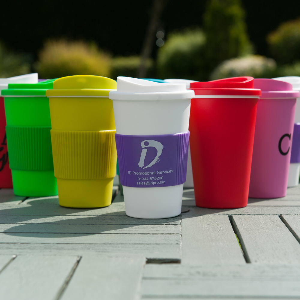 Plastic takeaway mug is available in mix and match colour options.