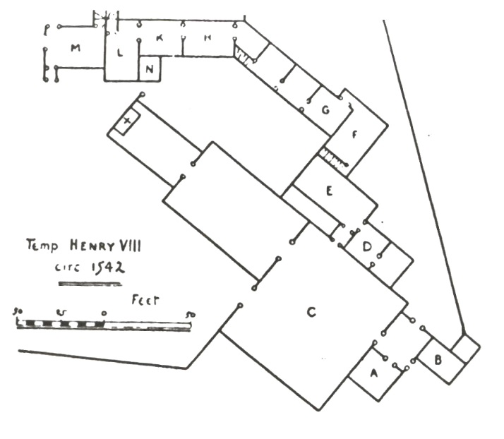 Plan of Domus Dei (C= Courtyard in front of the Church)