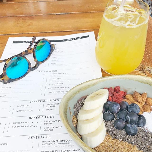 Brekkie Bake Beverages 🍻 🔃 @edgemiami ・・・ Perfect recovery breakfast after Thanksgiving. #GobbleGobble #UltimatePowerBreakfast @forbestravelguide
