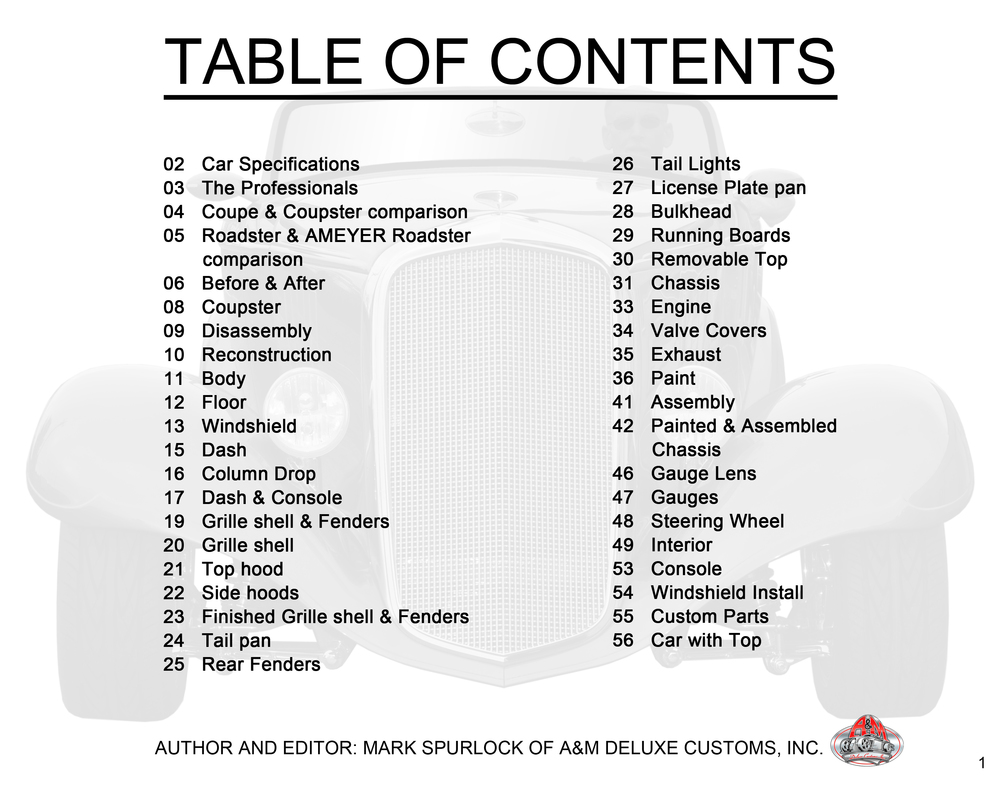 33 Chevy, page 1 Table of contents.jpg