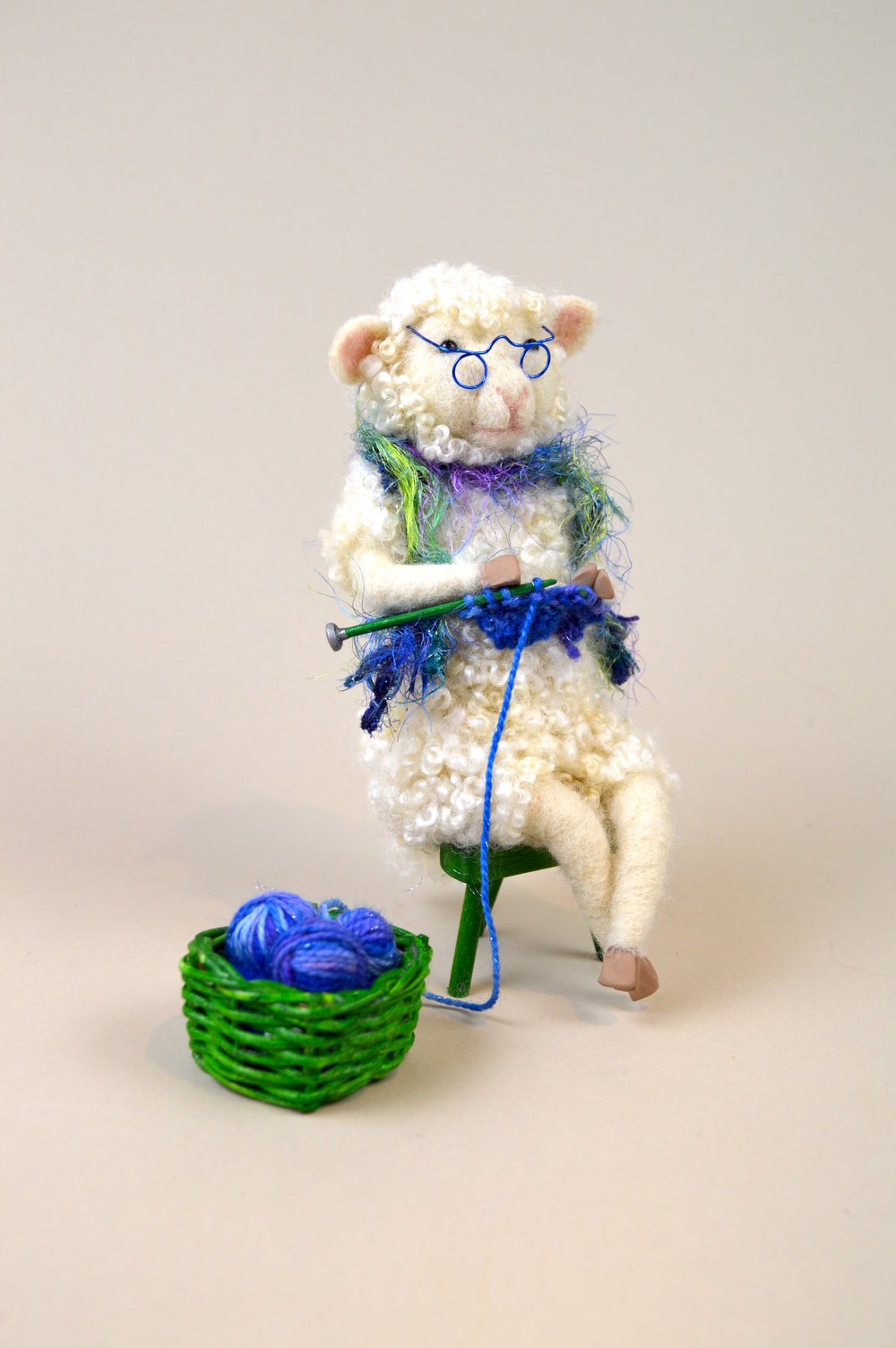 Knitting Sheep in Blue and Green