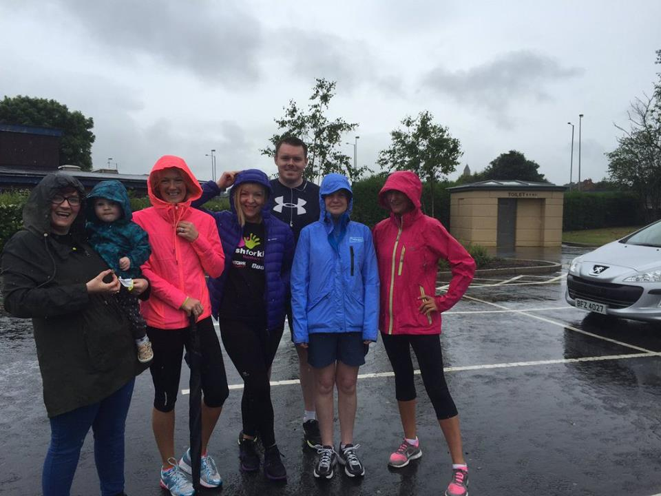 The Ulster Bank team from the Ormeau Road, Belfast, set off on a 5km sponsored walk in aid of Cash for Kids NI on Sunday 12th June 2016. The torrential rain didn't pout them off! Well done..jpg