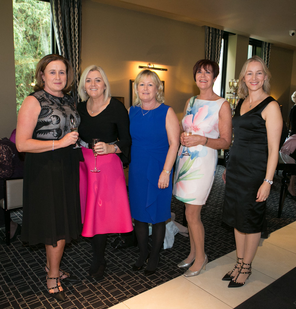 Geraldine Hallissey, Caroline Walsh, Deirdre Lynch, Trish Phelan and Eadaoin Glynn all from Maryborough Woods at the Annual Aer Lingus Autumn Lunch in aid of Cork ARC Cancer Support House.