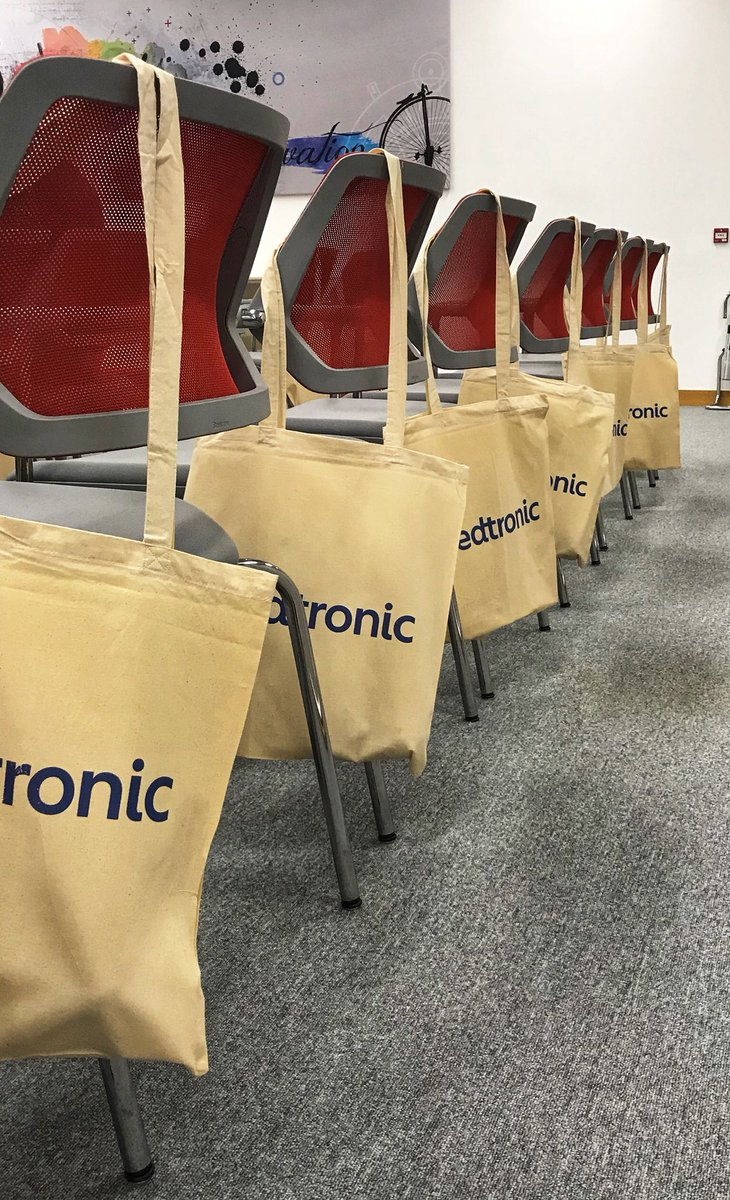 Goodie bags lined up ahead of the presentation in Medtronic at Parkmore in Galway.