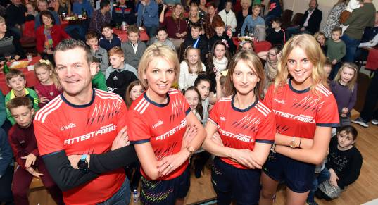 The Sheahan family from Cork, during the live broadcast celebration at Whitechurch community centre on New Year's Eve. Picture by Eddie O'Hare from  Evening Echo article, 'Fittest Family No Joke for the Sheahans', 3.1.19.