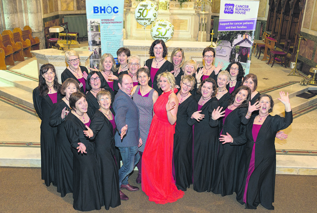 The Glaslinn Choir in high spirits with tenor Dan Twomey, conductor Antoinette Baker and soprano Linda Kenny at the launch night for the Gala Concert. Proceeds from this concert will go to the Bandon Hyperbaric Oxygen Centre and Cork ARC Cancer Support House. (Photo: Jerry O' Mahony, Courtesy of the Southern Star newspaper)