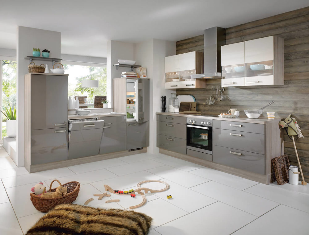 Kitchen Collections Evoke German Kitchens - Gloss grey kitchen units