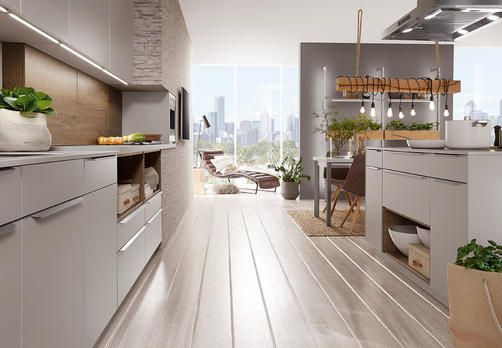 MODERN - Clean lines, exquisite design and clearly structured architecture are what define a modern kitchen from the Evoke Core Collection. The smooth, uncomplicated finishes leave a lasting impression.