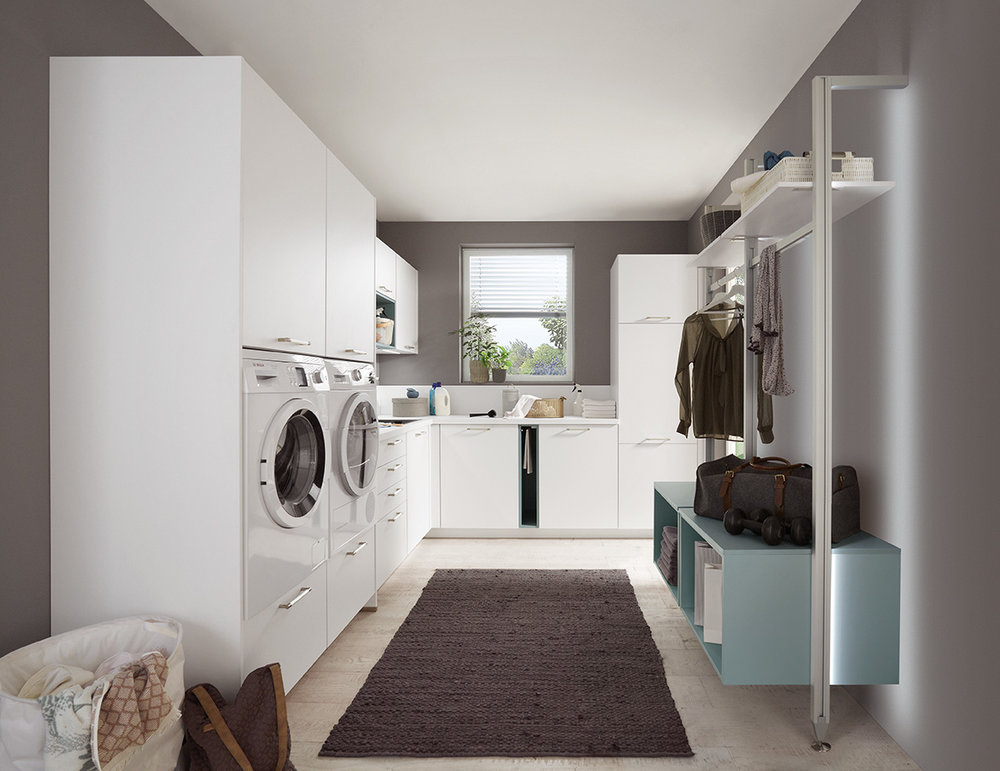 UTILITY - Few busy households work efficiently without a well designed utility space or boot room. It doesn't have to be a big space, but it does need to function well for your family. Ergonomically designed to suit you, a utility from the Evoke Core Collection will revolutionise your housekeeping.
