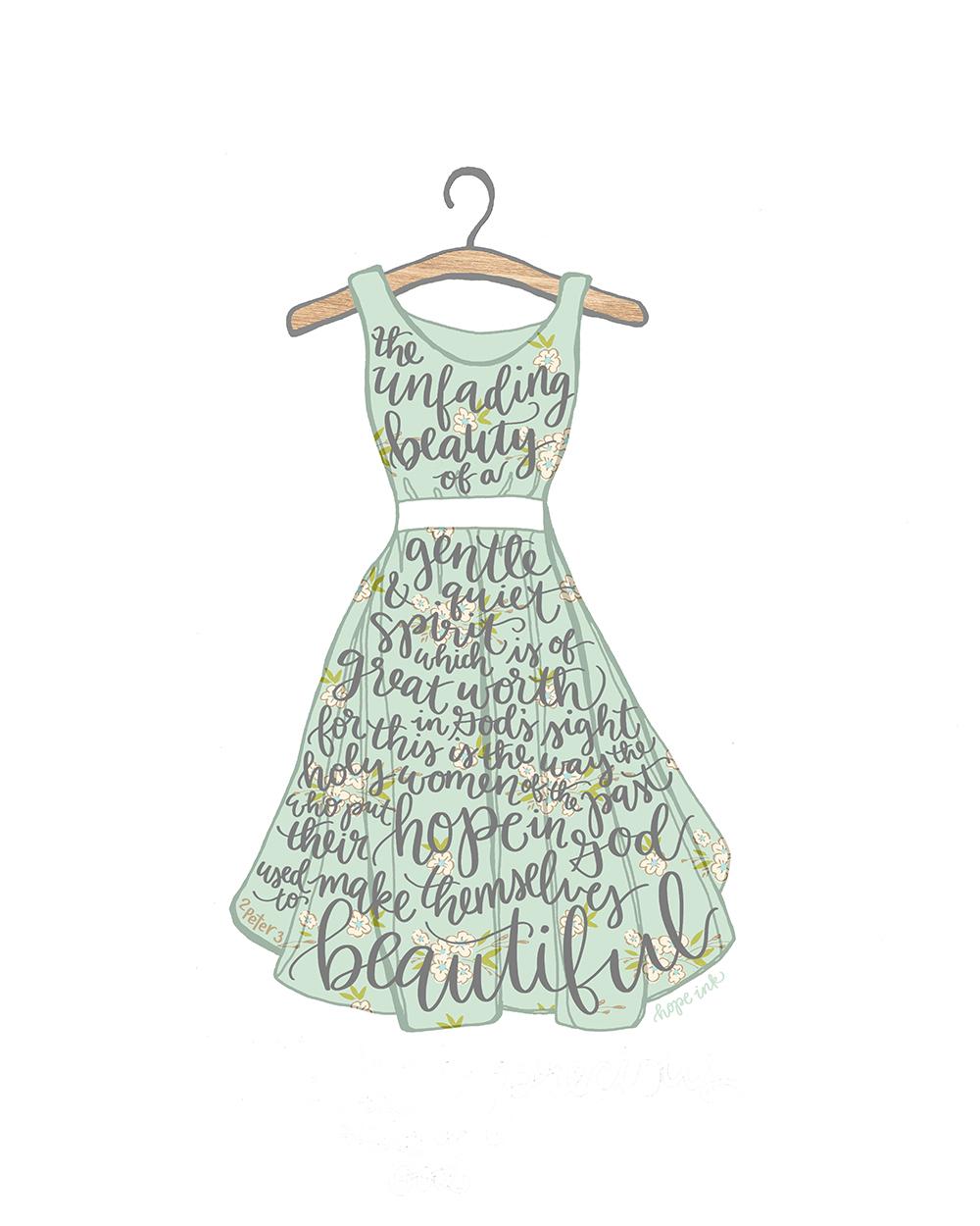 Unfading Beauty | Hand Lettered Dress | Hope Ink Scripture Art.jpg