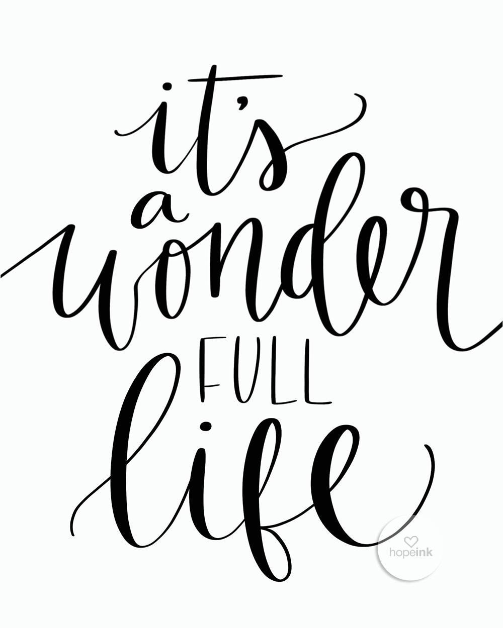 Its A Wonderful Life | Hand Lettered Wall Art | Hope Ink.jpg