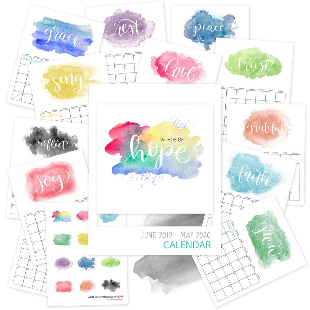 Printable Watercolor Calendar 2020 | Hope Ink.jpg