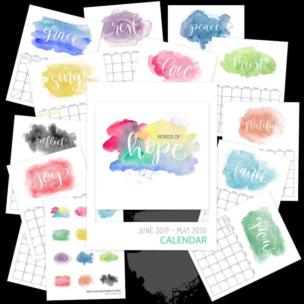Printable Watercolor Calendar 2020 | Hope Ink.png