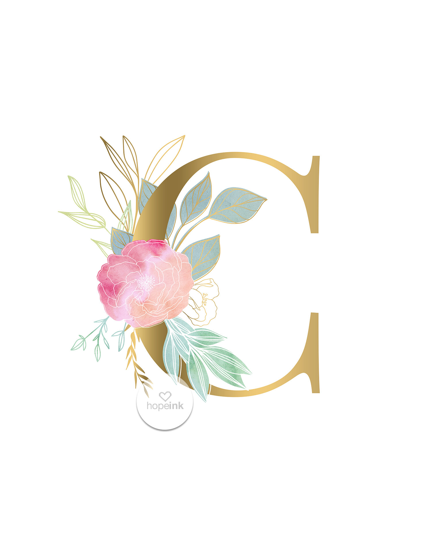 Watercolour Initial Letter C Quote Print