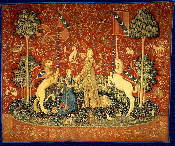 "The Lady and the Unicorn   ( French :  La Dame à la licorne ) is the modern title given to a series of six  tapestries  woven in Flanders  from wool and silk, from designs ("" cartoons "") drawn in Paris around 1500. [1]  The set, on display in the  Musée national du Moyen Âge  (former Musée de Cluny) in Paris, is often considered one of the greatest works of art of the  Middle Ages  in Europe.  Five of the tapestries are commonly interpreted as depicting the five  senses  – taste, hearing, sight, smell, and touch. The sixth displays the words "" À mon seul désir "". The tapestry's meaning is obscure, but has been interpreted as representing  love  or understanding."