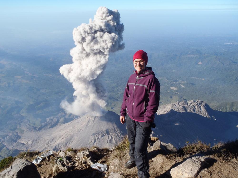 Santiaguito Eruption view from Santa Maria Volcano, Guatemala  - Wo  V  2016