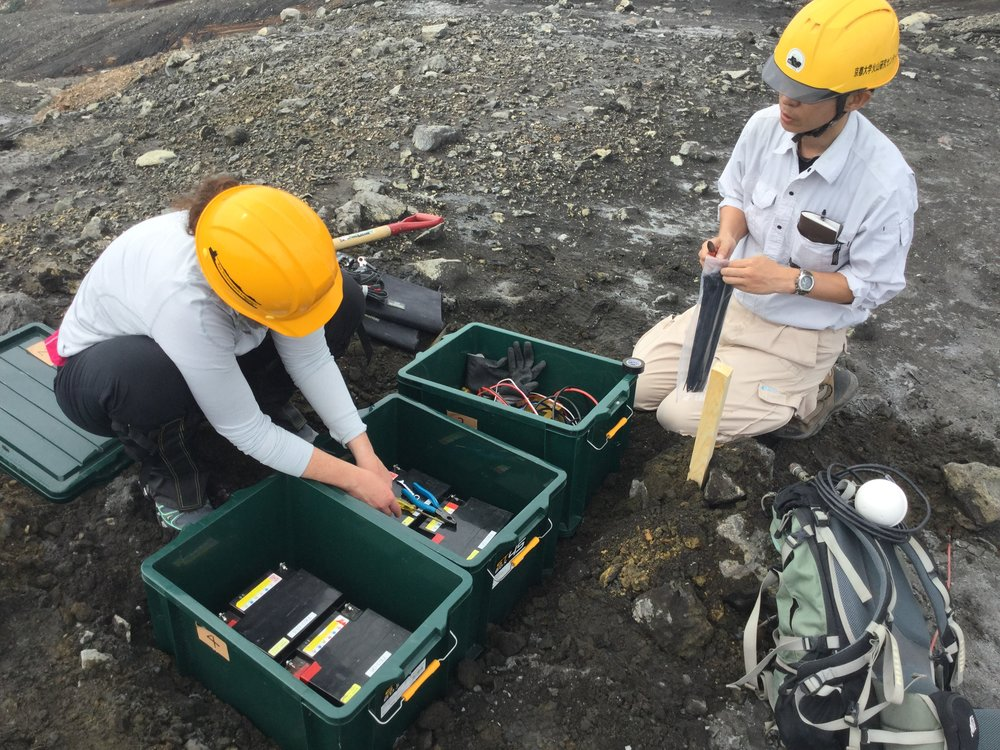 Infrasound Array Installation, Aso Volcano, Japan - Summer 2015,  credit: Y. Huang