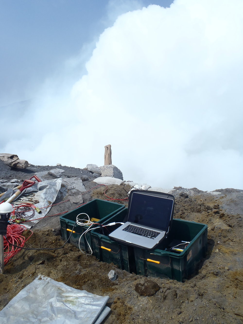 Infrasound Array Installation, Aso Volcano, Japan -   NSF EAPSI Fumarole Acoustics Project - Summer 2015