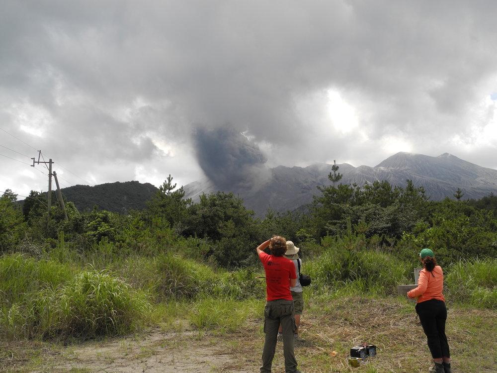Eruption, Sakurajima Volcano, Japan -UAF Infrasound network deployment - July 2013, credit:D. Fee