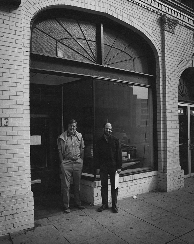 Pat with Vance Gerry in front of the 9th-Street shop just after writing up a partnership agreement.