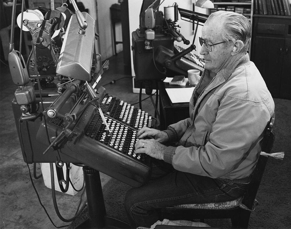 'Boston Bill' Burgess, the Archie Bunker of typesetting. Despite being a cantankerous misanthrope, he was the best keyboard man in the known universe.