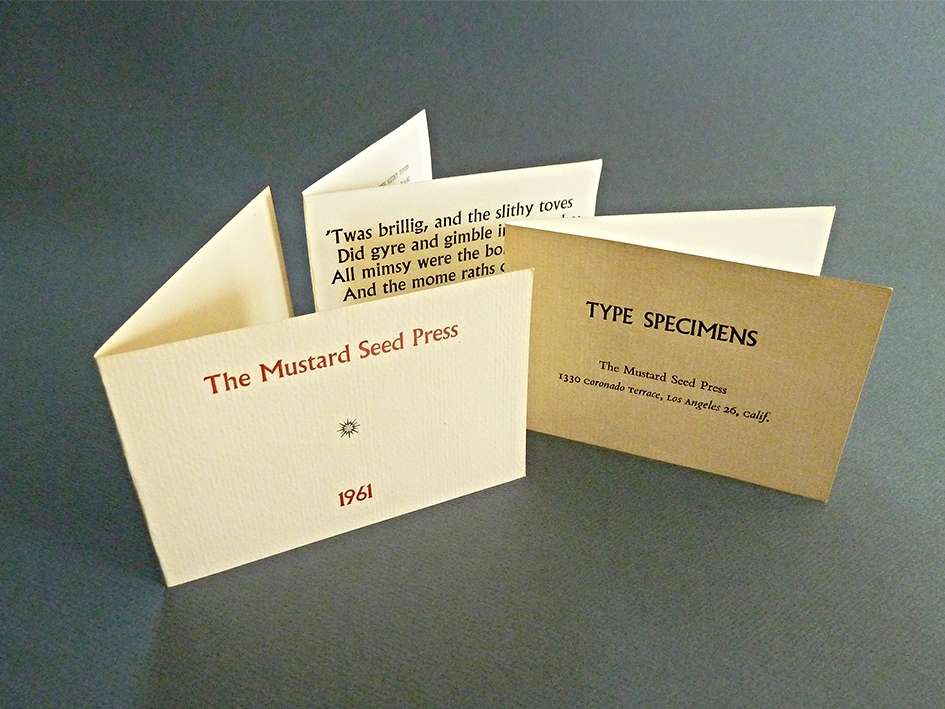 Pages from the first Mustard Seed Press specimen book. The Press had a total of six fonts in one size of each.