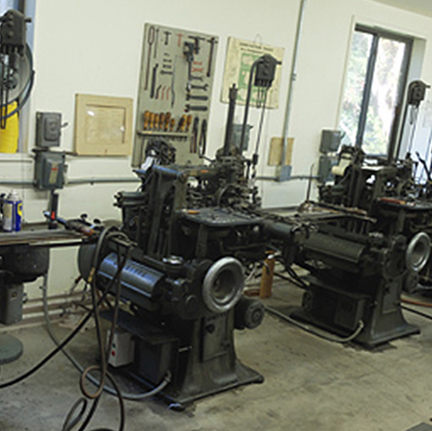 Relocated Monotype composition casters. The eighth mechanical wonders of the world enjoy their new pastoral surroundings