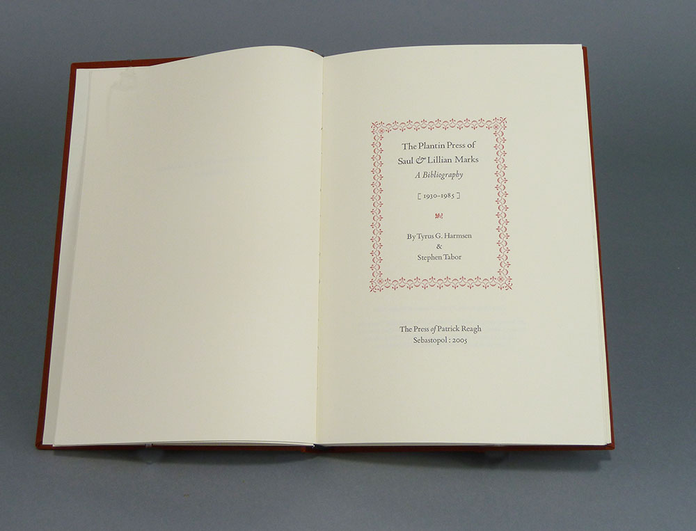 Title page to special edition. Slipcase with original Plantin Press ephemera.