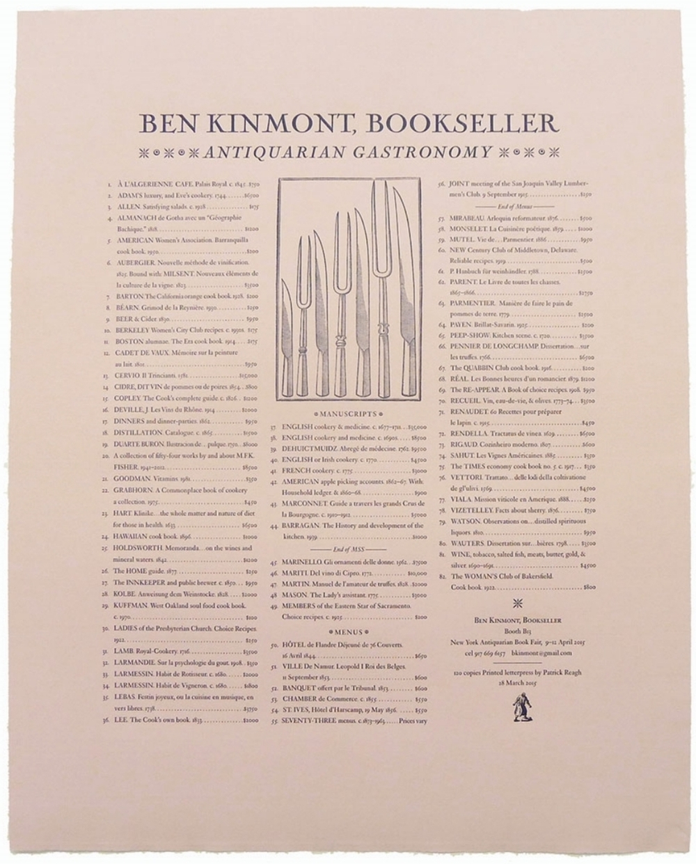Broadside for Ben Kinmont Bookseller
