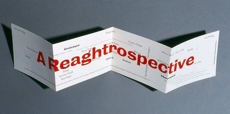 Reaghtrospective announcement, 5 x 25 inches. Patrick Reagh, Arundel Books, 1993