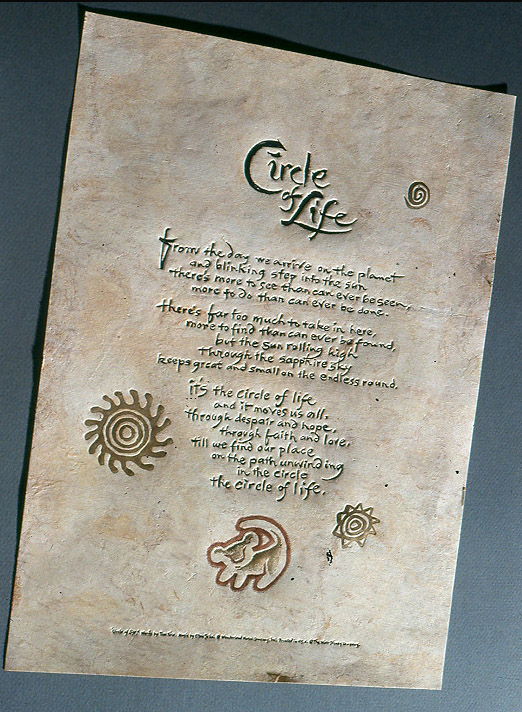 Circle of Life . Elton John lyrics enclosed in the boxed, limited-edition video (80,000) of the  Lion King . Walt Disney Studios, 1995.