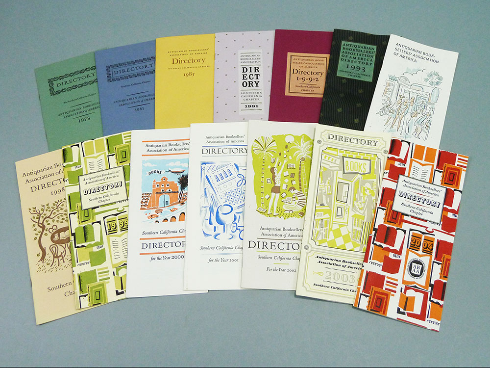 ABAA Southern California chapter directories from 1978–2004. The illustrated covers are by Vance Gerry.