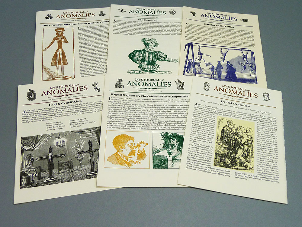 Six of sixteen issues of  Jay's Journal of Anomalies , Ricky Jay. Published by the author and William & Victoria Dailey, 1995–1998.
