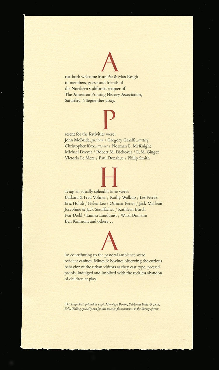 APHA keepsake. Patrick Reagh, 2003.
