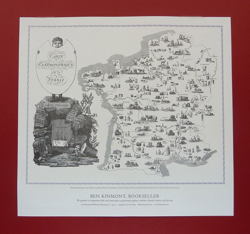 Carte Gastronomique de La France . Map, 16.5 x 20 inches.  Ben Kinmont , 2009.