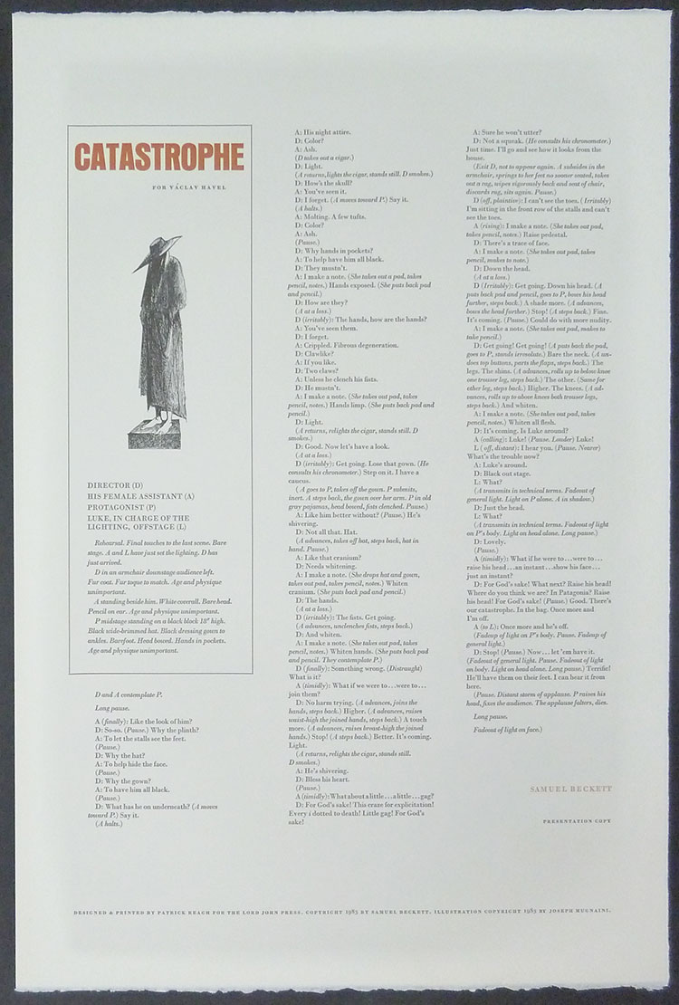 Catastrophe . Broadside, 15 x 22 inches. Samuel Beckett, illustration by Joseph Mugnaini. Lord John Press, 1985.