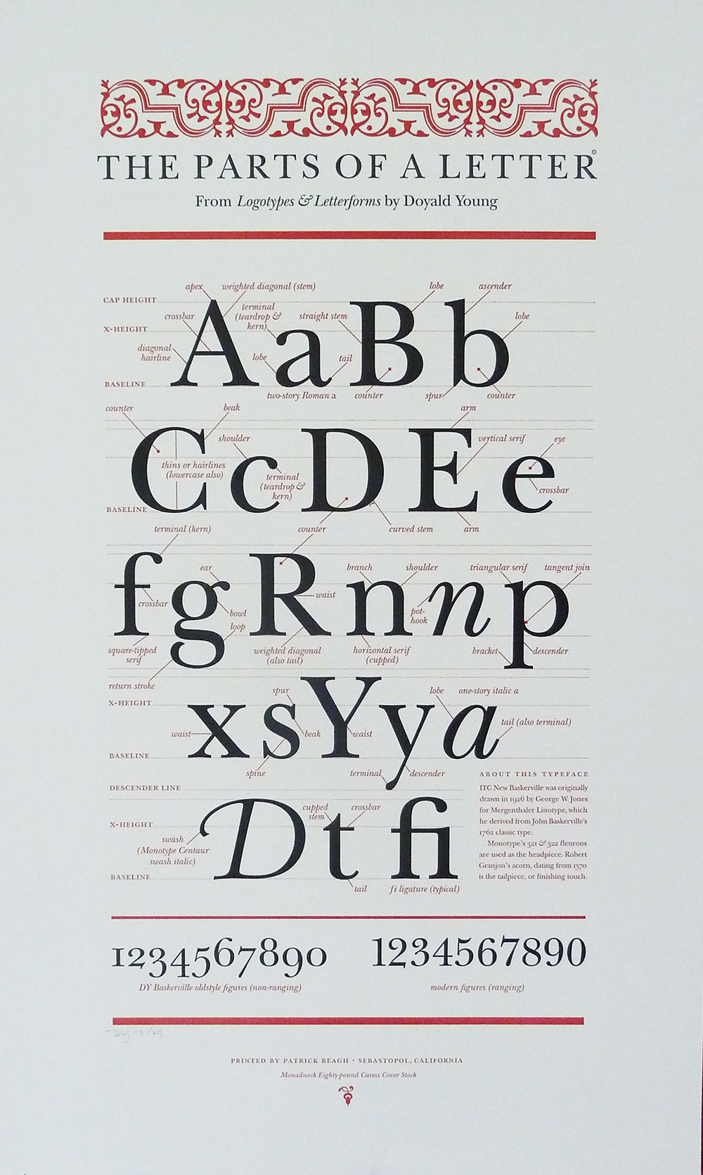 The Parts of a Letter . Broadside, 16 x 26 inches. Doyald Young, 1995.