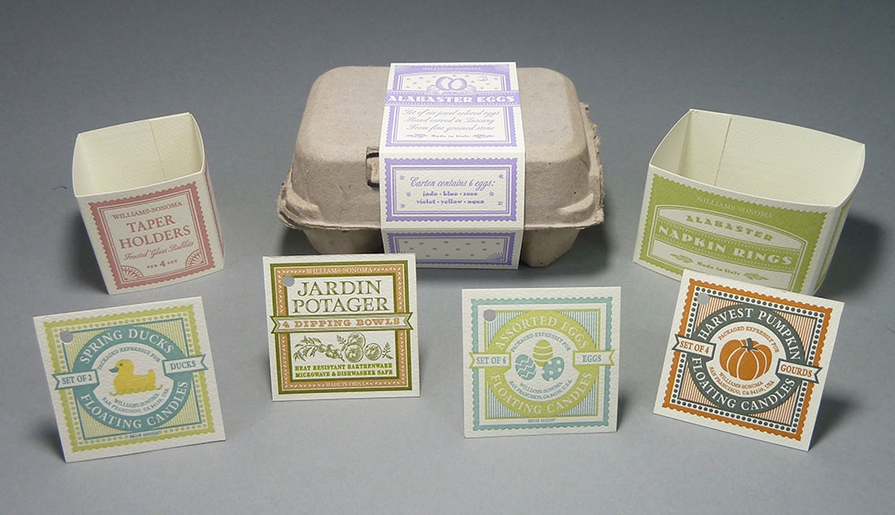 Hang tags and belly bands. A selection of the many packaging labels printed for Williams-Sonoma, Inc., 2000–2002.