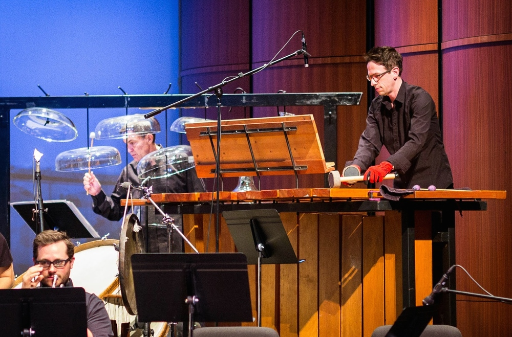 Nick Terry on bass marimba and David Johnson on cloud chamber bowls