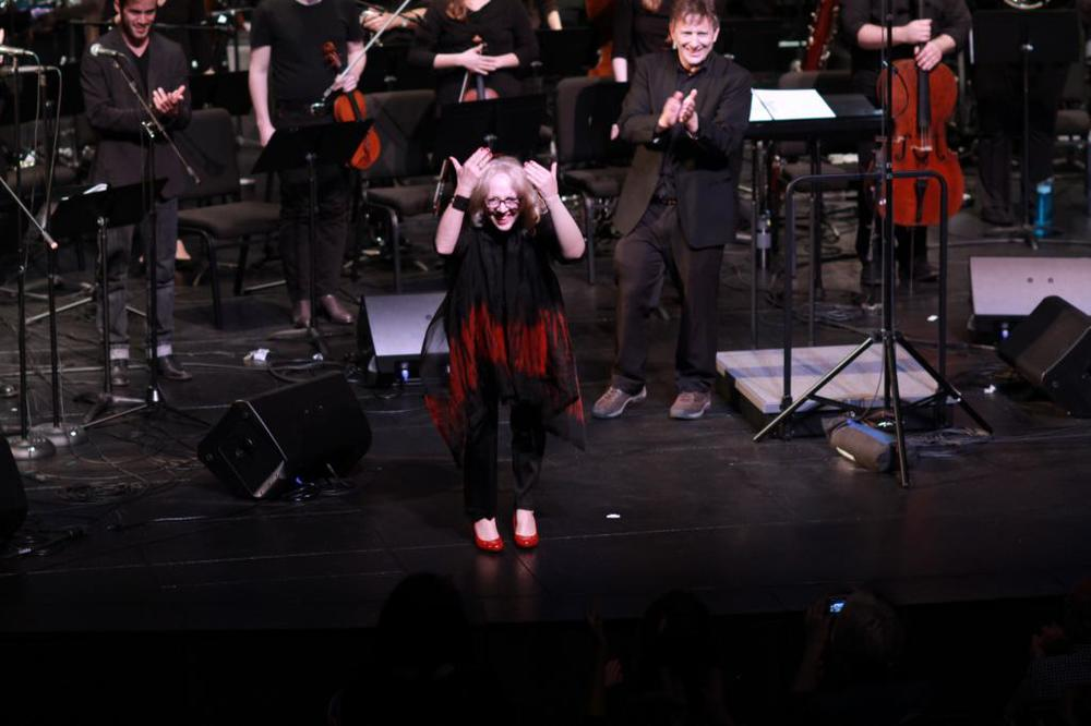 Anne LeBaron bows following the performance