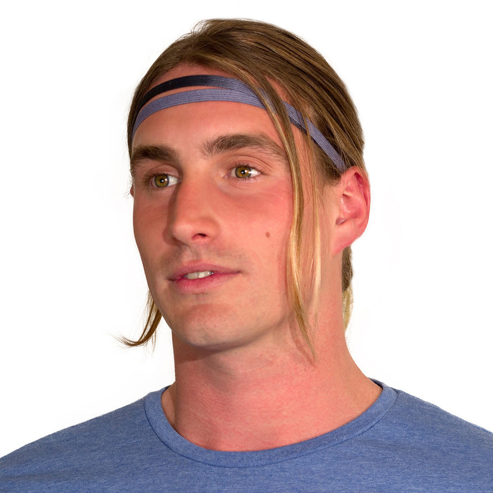 Black Grey skinny headband for men