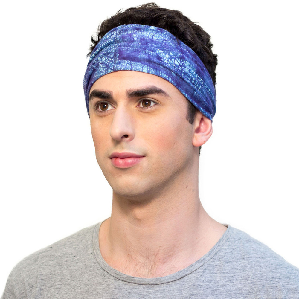 Navy Blue Mens Batik Headband