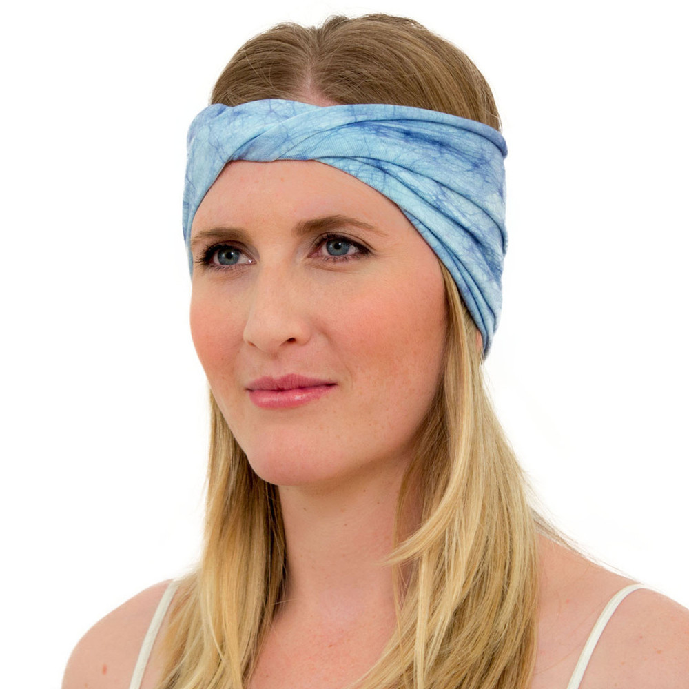 light blue head wrap for women - ENSO Batik Ether Blue headband by KOOSHOO