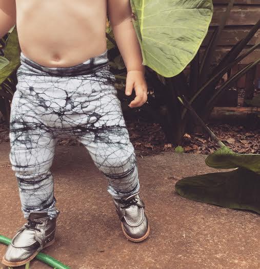 Black Batik KOOSHOO Kids Pants paired with Pewter Metallic Kids Kicks