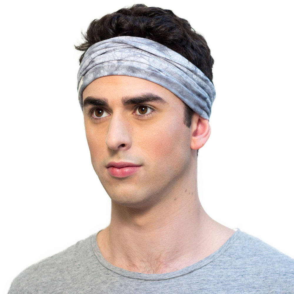steel grey men`s headband