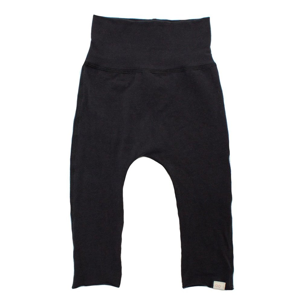 black baby pants made from organic cotton