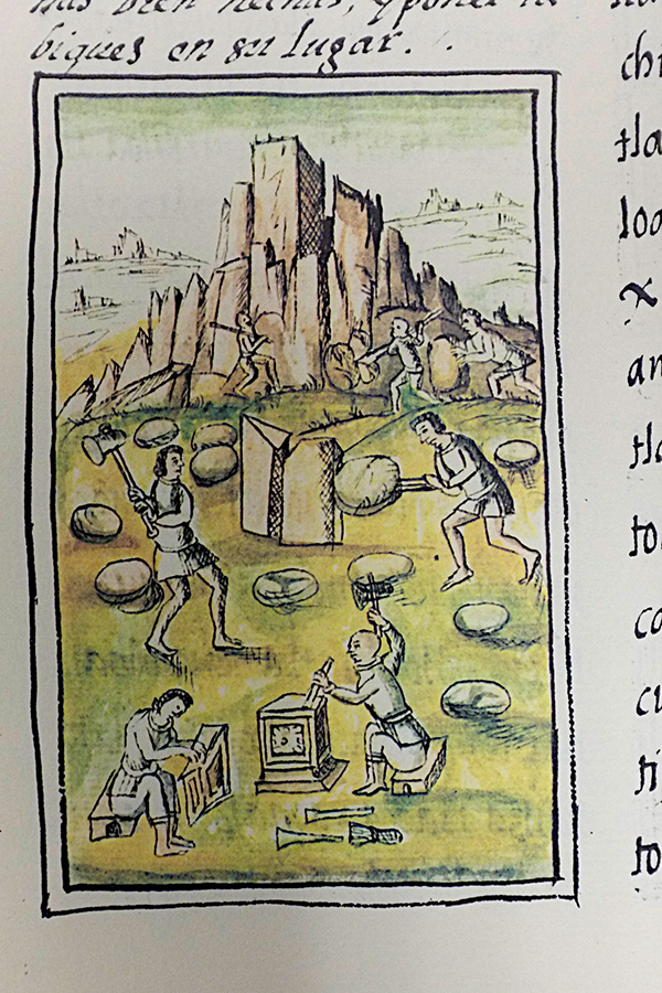 Indigenous masons involved on construction activities.  Florentino Codex, 16th century